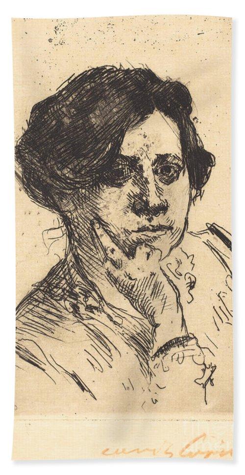 Beach Towel featuring the drawing Head Of Woman (frauenkopf) by Lovis Corinth