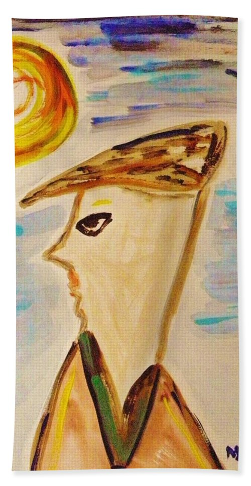 Man Beach Towel featuring the painting Head Turn by Mary Carol Williams