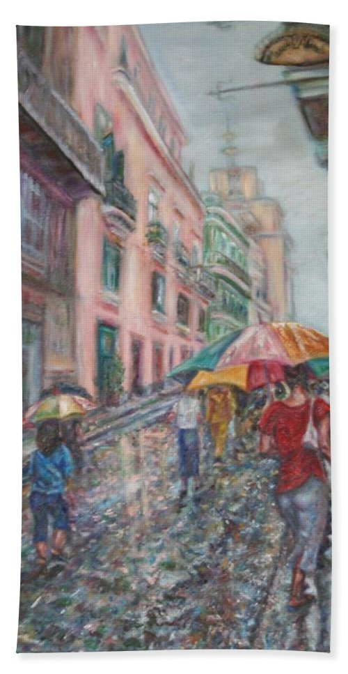 Women Beach Towel featuring the painting Heading Home In Havava by Quin Sweetman