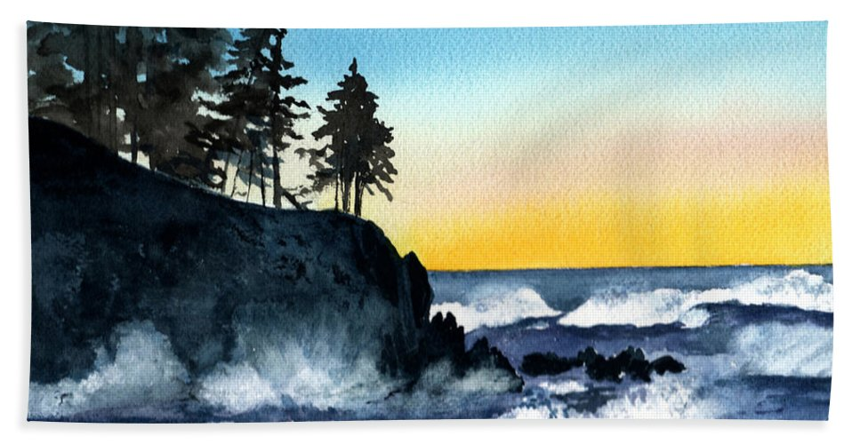 Alaska Beach Towel featuring the painting Headland by Brenda Owen
