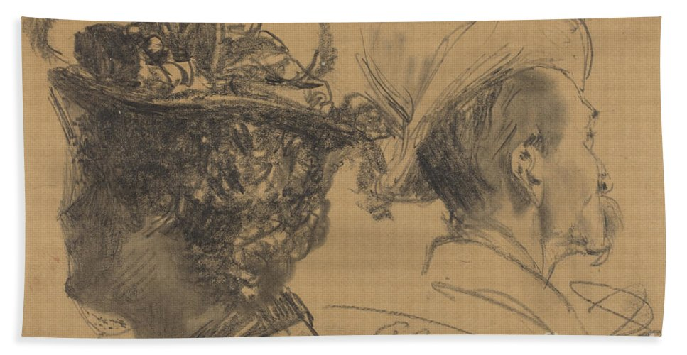 Beach Towel featuring the drawing Heads Of A Man And A Woman by Adolph Menzel