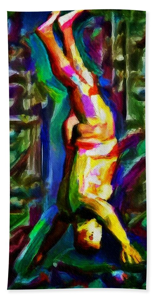 Headstand Naked Unconventional Figure Portrait Painting Bright Colorful Gymnastics Old -5217
