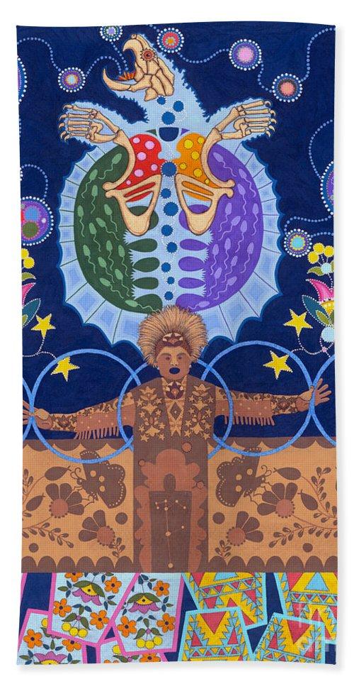 Native American Beach Towel featuring the painting Healing - nanatawihowin by Chholing Taha
