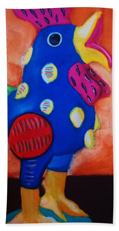 Chick Beach Towel featuring the painting Hear Ye Hear Ye by Melinda Etzold