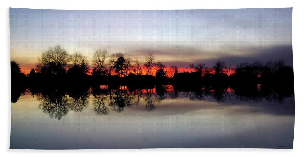 2d Beach Towel featuring the photograph Hearns Pond Silhouette by Brian Wallace