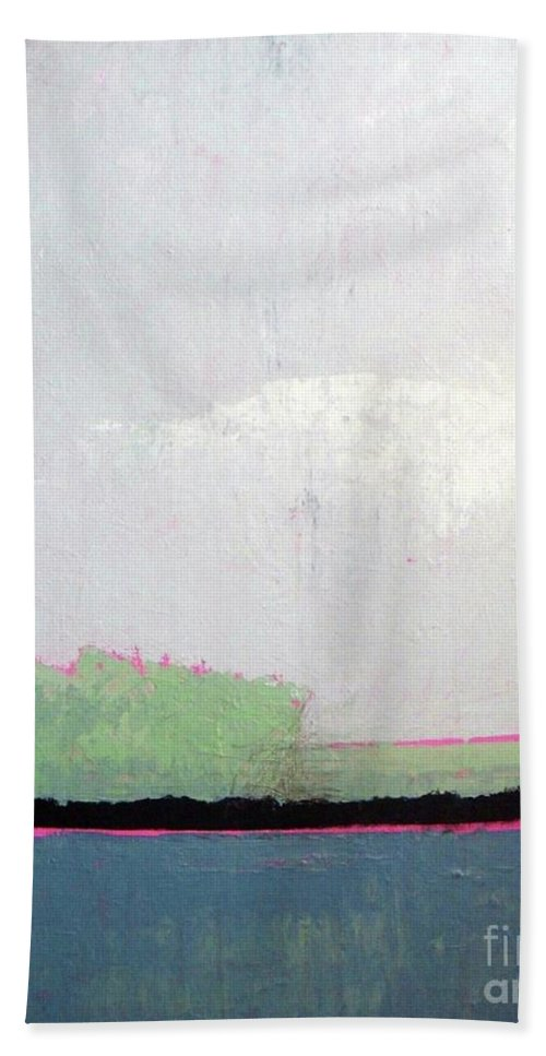 Abstract Landscape Beach Towel featuring the painting Heart Lake - Abstract Landscape by Vesna Antic