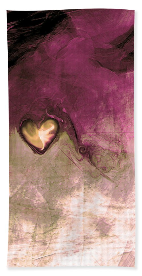 Heart Of Gold Beach Towel featuring the digital art Heart Of Gold by Linda Sannuti