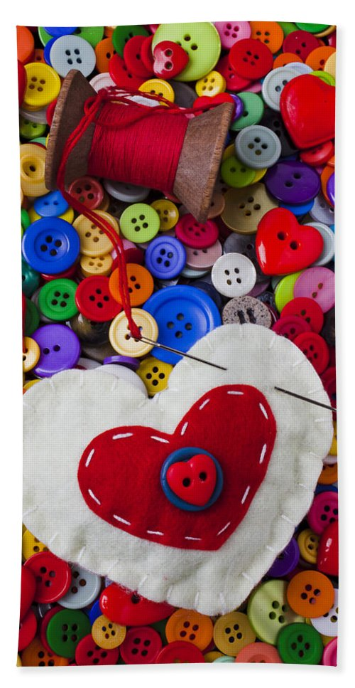 Heart Beach Towel featuring the photograph Heart Pushpin Chusion by Garry Gay