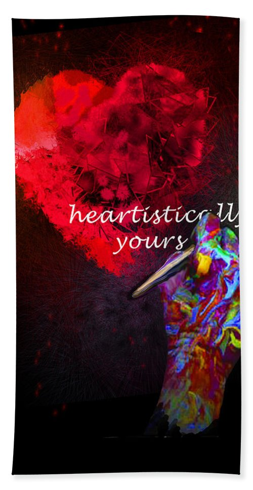 Valentine Beach Towel featuring the painting Heartistically Yours by Miki De Goodaboom