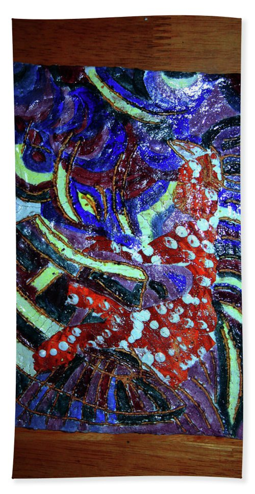 Plaquesmamamama Africa Twojesus Beach Towel featuring the ceramic art Hearts Drum 7 by Gloria Ssali