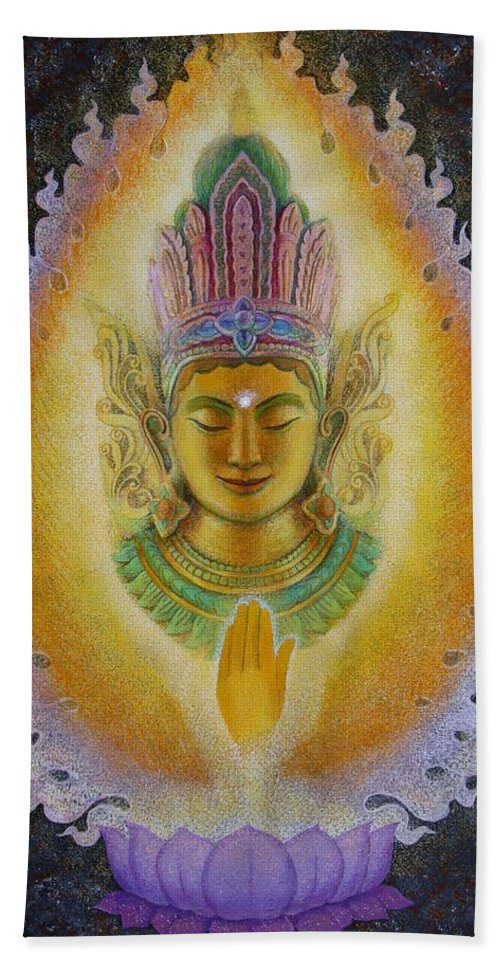 Buddha Beach Towel featuring the painting Heart's Fire Buddha by Sue Halstenberg
