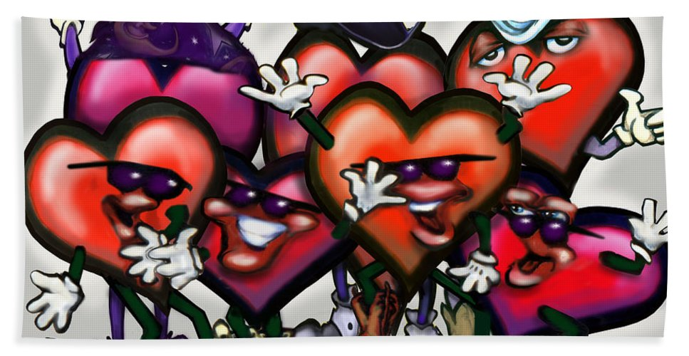 Heart Beach Towel featuring the digital art Hearts Party by Kevin Middleton