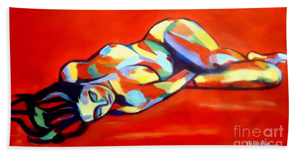 Affordable Paintings For Sale Beach Towel featuring the painting Heat by Helena Wierzbicki
