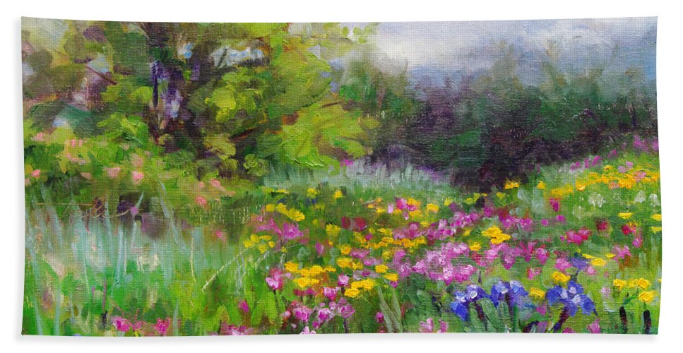 Flower Beach Towel featuring the painting Heaven Can Wait by Talya Johnson