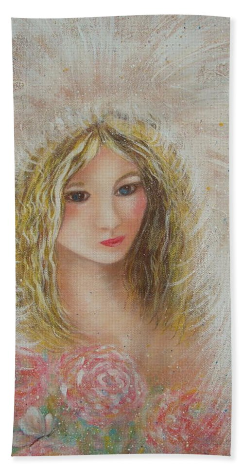 Angel Beach Towel featuring the painting Heavenly Angel by Natalie Holland