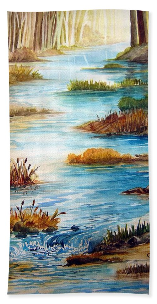 Heavens Gift Water Trees Landscape Beach Sheet featuring the painting Heavens Gift by Joanne Smoley