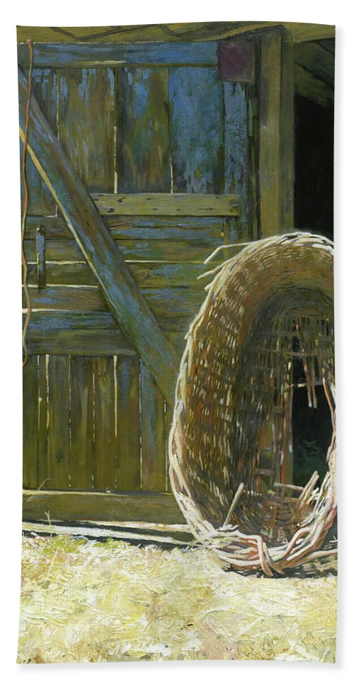 Basket Beach Towel featuring the painting Heavy Harvest by Denis Chernov