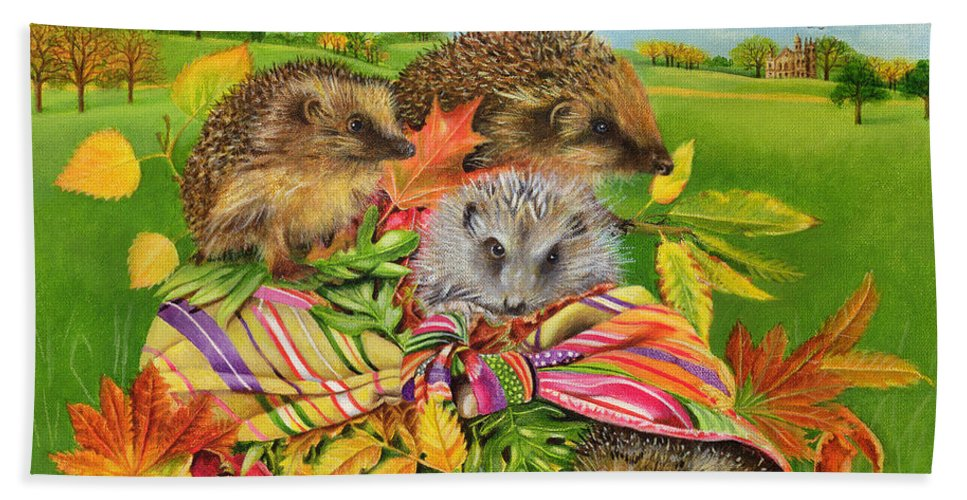 Hedgehog Beach Towel featuring the painting Hedgehogs Inside Scarf by EB Watts