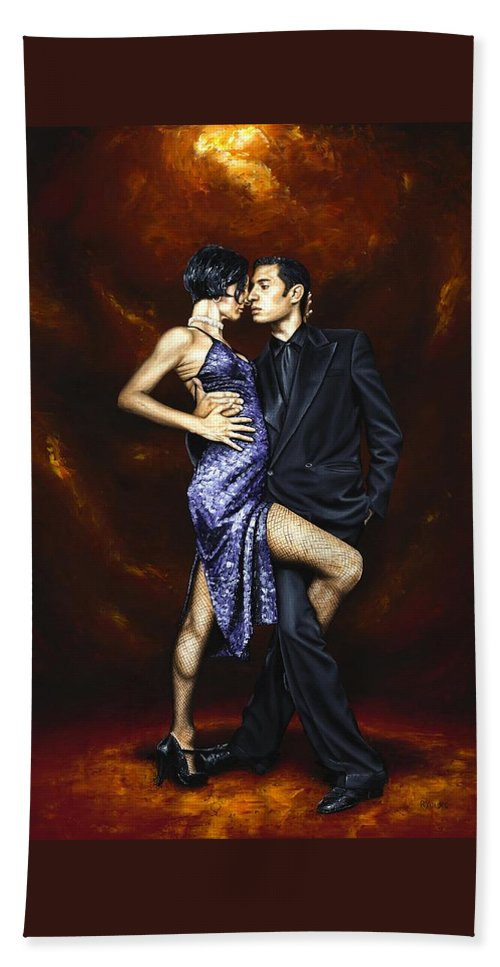 Tango Beach Towel featuring the painting Held in Tango by Richard Young