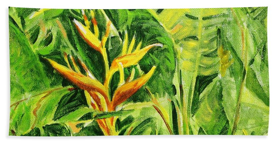Flowers Beach Towel featuring the painting Heliconia 8 by Usha Shantharam