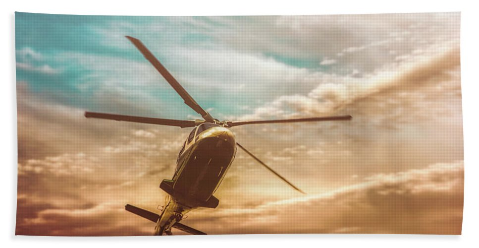 Aviation Beach Towel featuring the photograph Helicopter by Bob Orsillo