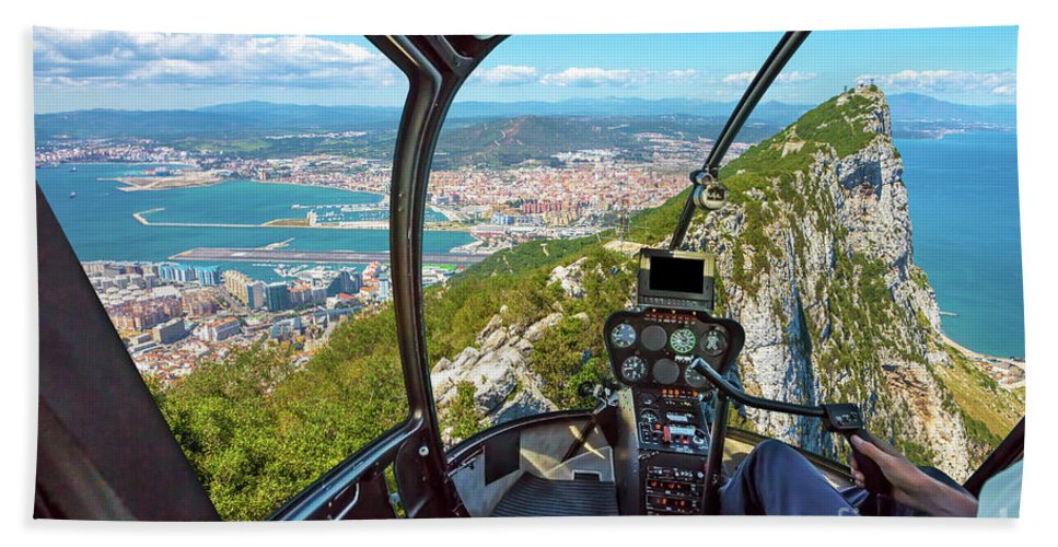 Gibraltar Beach Towel featuring the photograph Helicopter On Gibraltar Rock by Benny Marty
