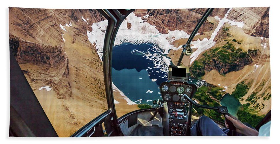Glacier National Park Beach Towel featuring the photograph Helicopter On Glacier National Park by Benny Marty