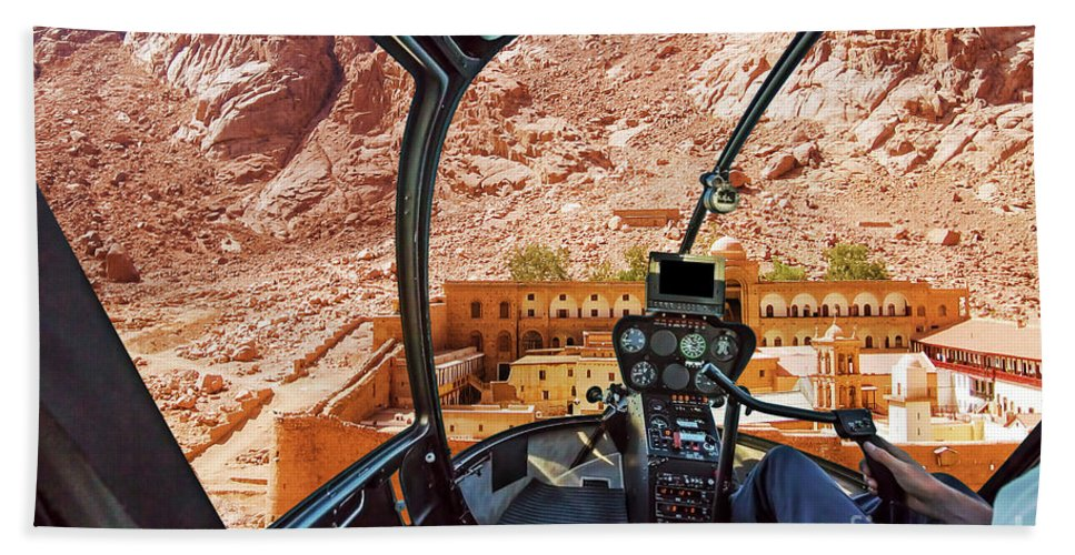 Mount Sinai Beach Towel featuring the photograph Helicopter On Monastery Of St Catherine by Benny Marty