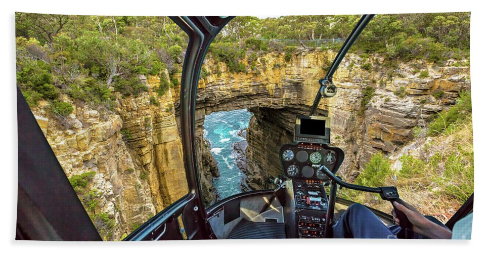 Tasman Arch Beach Towel featuring the photograph Helicopter On Tasman Arch by Benny Marty