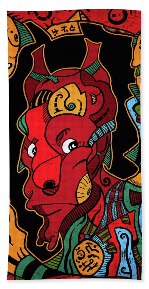 Illustration Beach Sheet featuring the digital art Hell by Sotuland Art