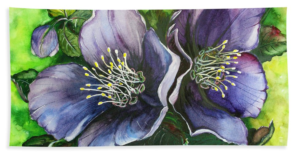 Flower Painting Botanical Painting Original W/c Painting Helleborous Painting Beach Towel featuring the painting Helleborous Blue Lady by Karin Dawn Kelshall- Best