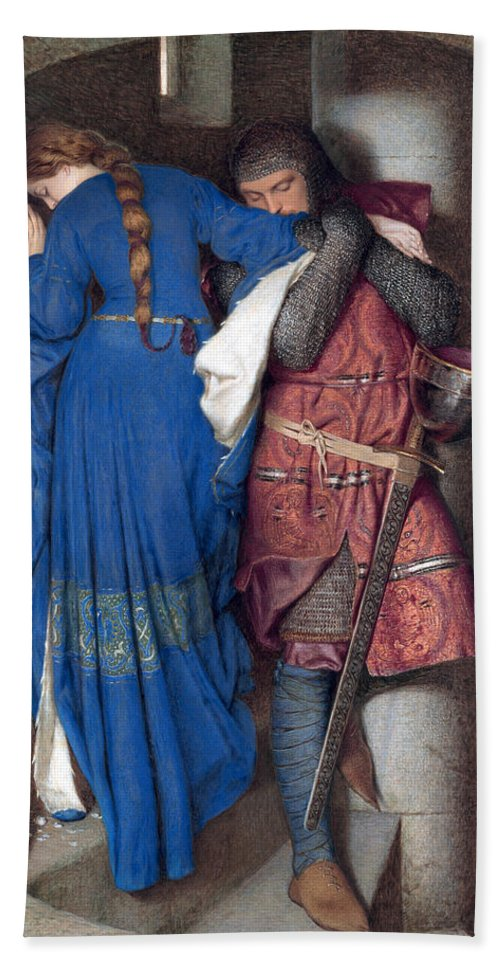 Frederic William Burton Beach Towel featuring the drawing Hellelil And Hildebrand Or The Meeting On The Turret Stairs by Frederic William Burton