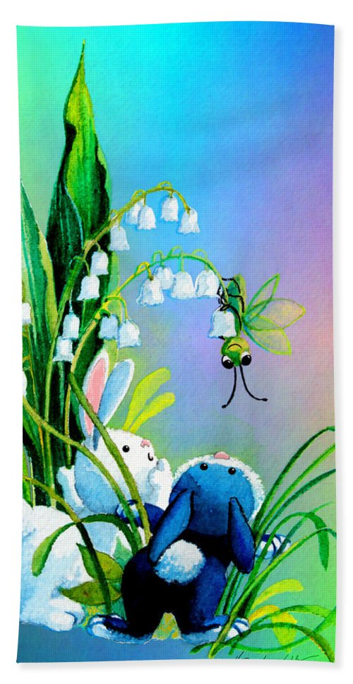Easter Bunny Beach Towel featuring the painting Hello There by Hanne Lore Koehler