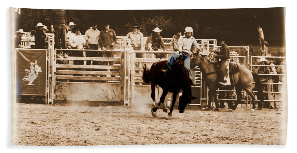 Sepia Beach Towel featuring the photograph Helluva Rodeo-the Ride 2 by September Stone
