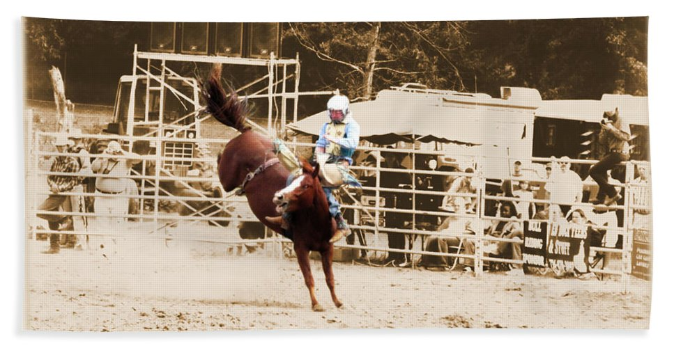 Sepia Beach Towel featuring the photograph Helluva Rodeo-the Ride 3 by September Stone