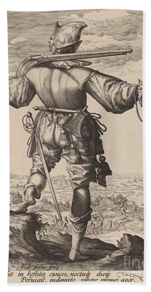 Beach Towel featuring the drawing Helmeted Musketeer by Jacques De Gheyn Ii After Hendrik Goltzius