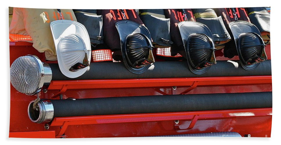 Fire Truck Beach Towel featuring the photograph Helmets by Rick Monyahan