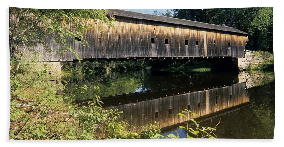 Covered Bridge Beach Sheet featuring the photograph Hemlock Covered Bridge - Fryeburg Maine Usa. by Erin Paul Donovan