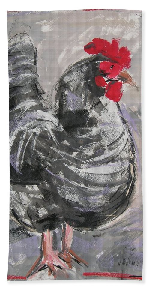 Hen Beach Towel featuring the painting Hen II by Mary McInnis