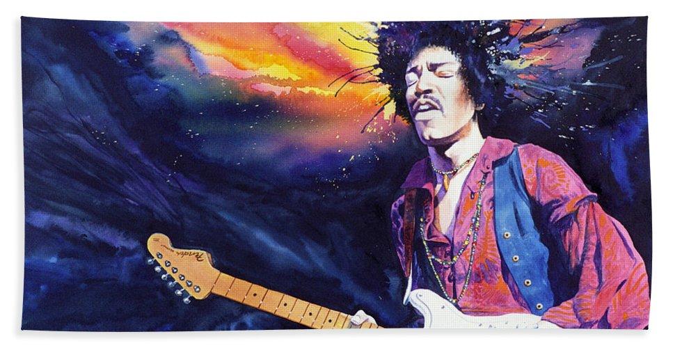 Jimi Hendrix Beach Towel featuring the painting Hendrix by Ken Meyer jr
