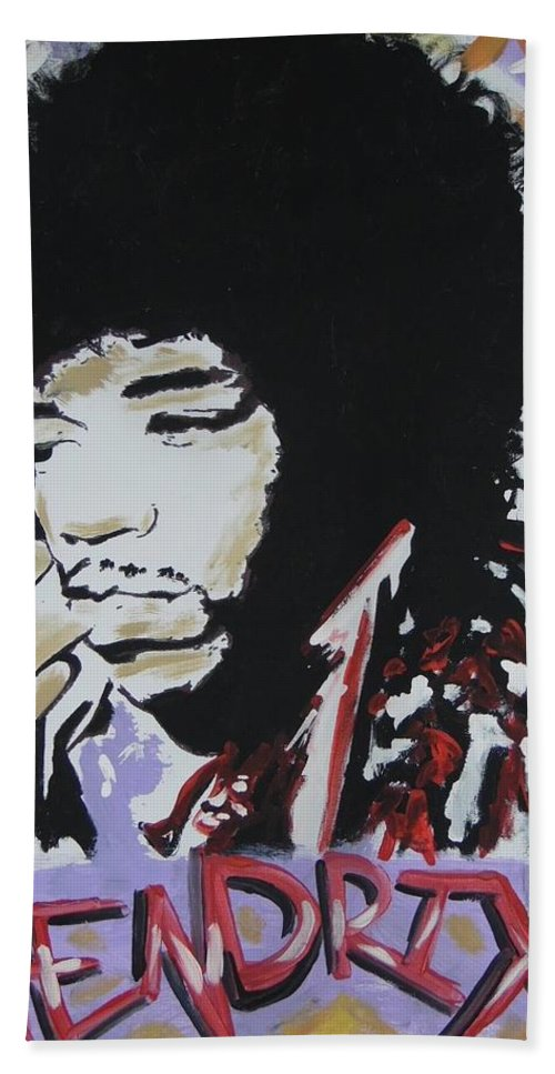 Jimi Hendrix Beach Towel featuring the painting Hendrix Thoughts by Antonio Moore