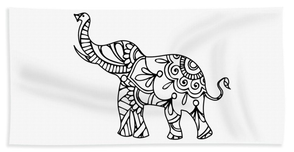Henna Elephant 2 Beach Sheet For Sale By Ricky Barnard