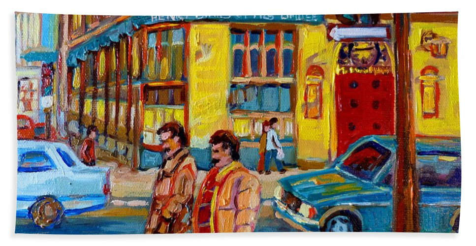 Downtown Montreal Beach Towel featuring the painting Henry Birks On St Catherine Street by Carole Spandau