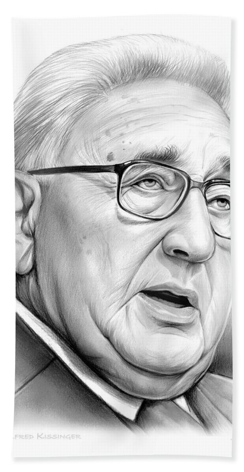 Henry Kissinger Beach Towel featuring the drawing Henry Kissinger by Greg Joens