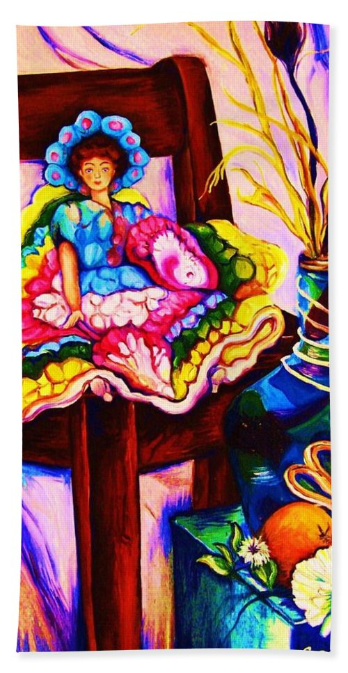 Collectables.antique Dolls Beach Towel featuring the painting Her Little Parasol by Carole Spandau