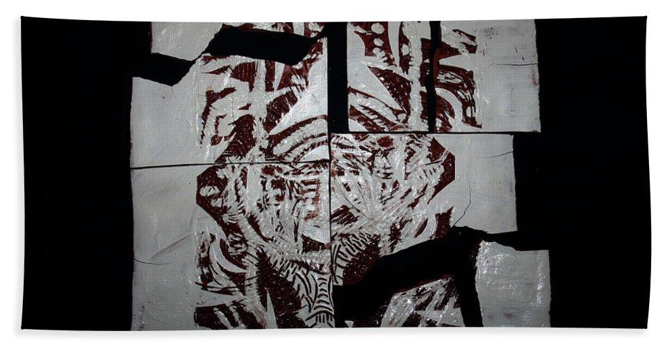 Jesus Elohimplaquesmamamama Africa Twojesus Beach Towel featuring the ceramic art Herald by Gloria Ssali