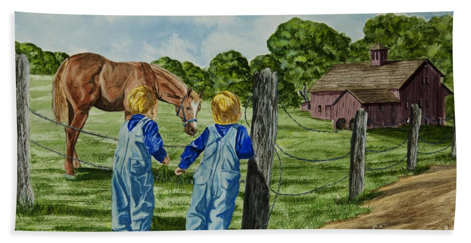 Country Kids Art Beach Towel featuring the painting Here Horsey Horsey by Charlotte Blanchard