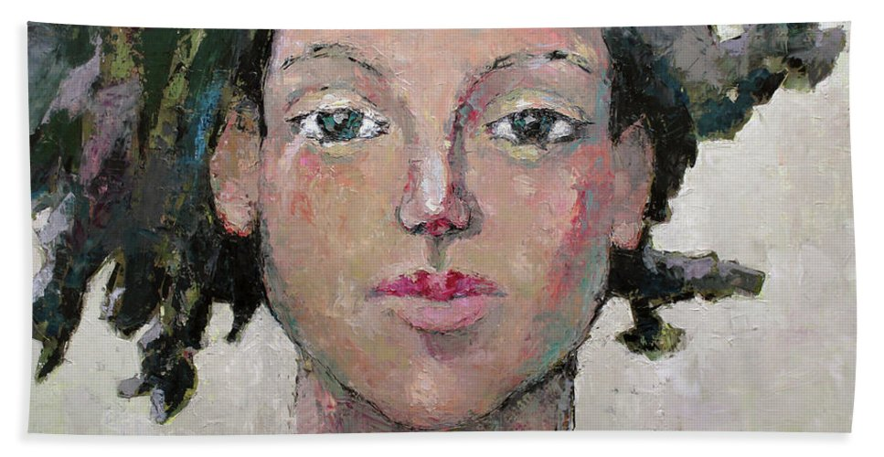 Girl Face Beach Towel featuring the painting Here I Am by Becky Kim