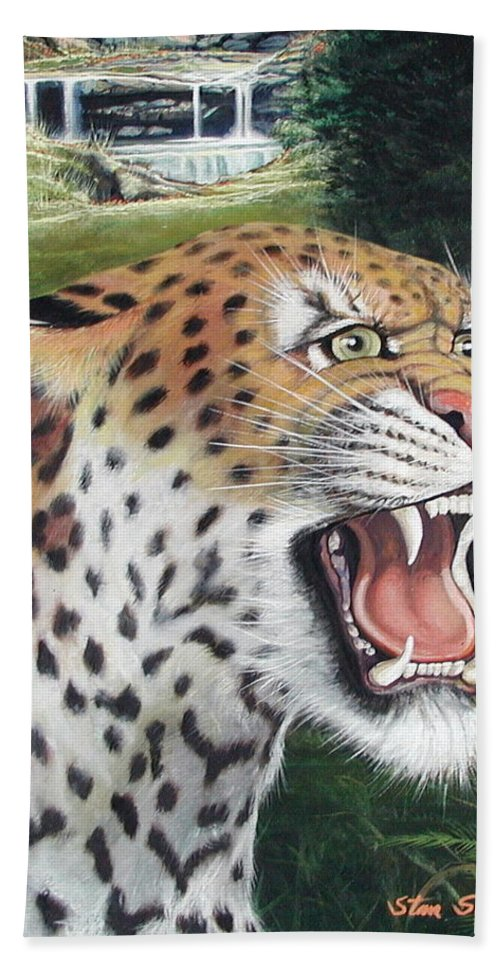 Wildlive Beach Towel featuring the painting Here Kitty Kitty by Stan Siemionkowicz