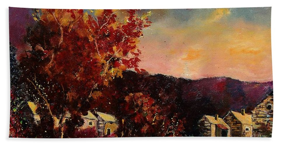 Tree Beach Towel featuring the painting Herhet by Pol Ledent